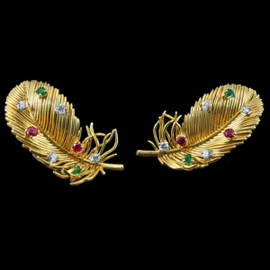 1950's Boucheron Feather Earrings