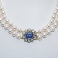Cultured pearl necklace with antique sapphire & diamond clasp