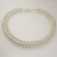 A stunning silver basket weave necklace by Italian designer Old Florence.