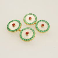 18 carat yellow gold and fire opal cufflinks by Deakin and Francis