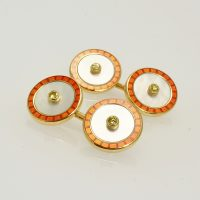 18 carat gold & yellow diamond cufflinks by Deakin and Francis