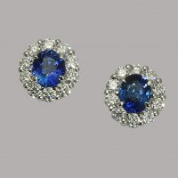 Sapphire and diamond oval cluster earrings