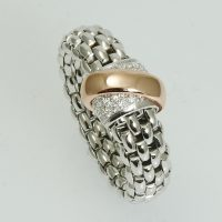 An 18 carat white and pink gold and brilliant cut diamond Flex'it Vendôme ring by Fope