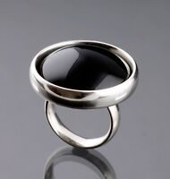 Silver and black agate Regitze ring